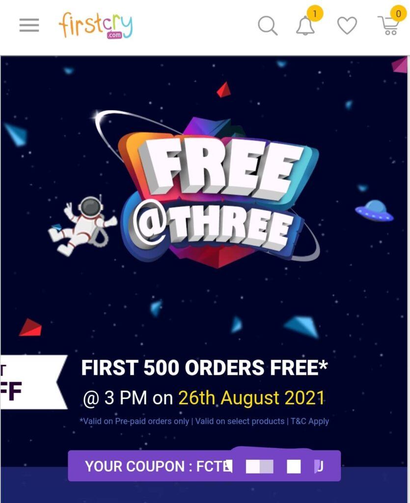 Firstcry free@3 24th August offer Details